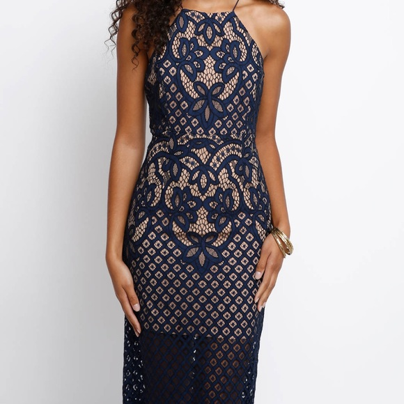Bardot Mila Lace Sheath Dress Navy Blue Small6
